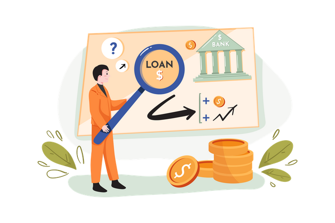 Searching for business loan Illustration