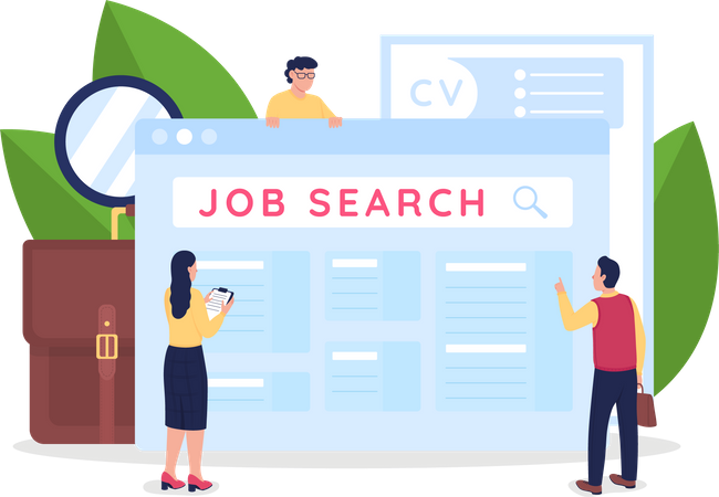 Searching for employment opportunities Illustration