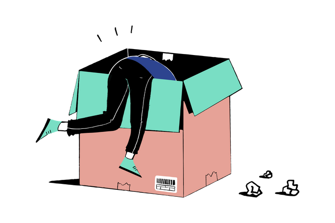 Searching in Box Illustration