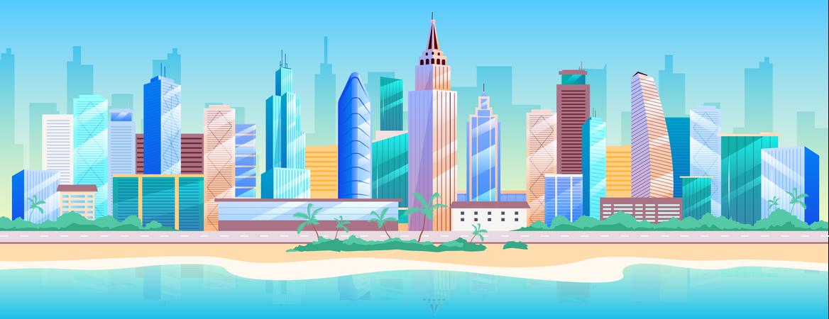 Seaside metropolis Illustration