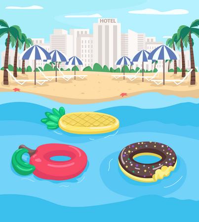 Seaside resort and pool floats Illustration