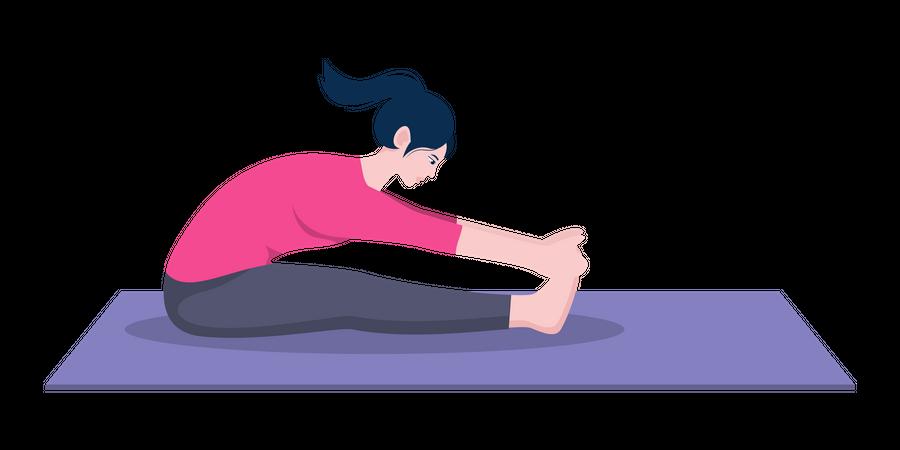 Seated forward fold pose Illustration