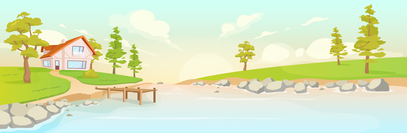 Secluded House On River Bank Illustration