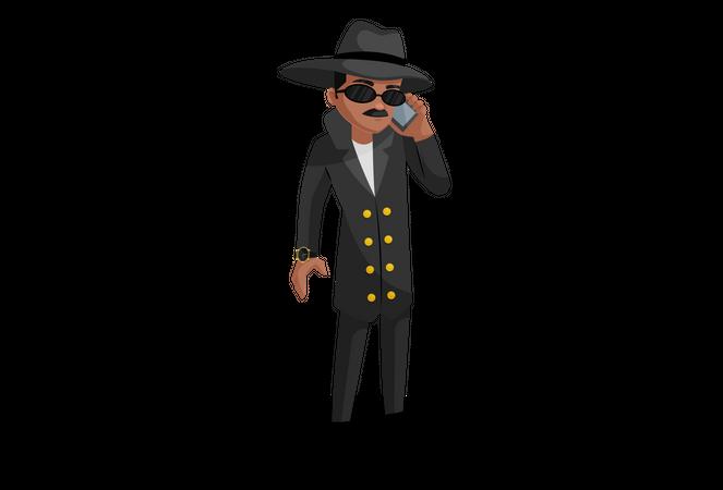 Secret agent talking on mobile Illustration