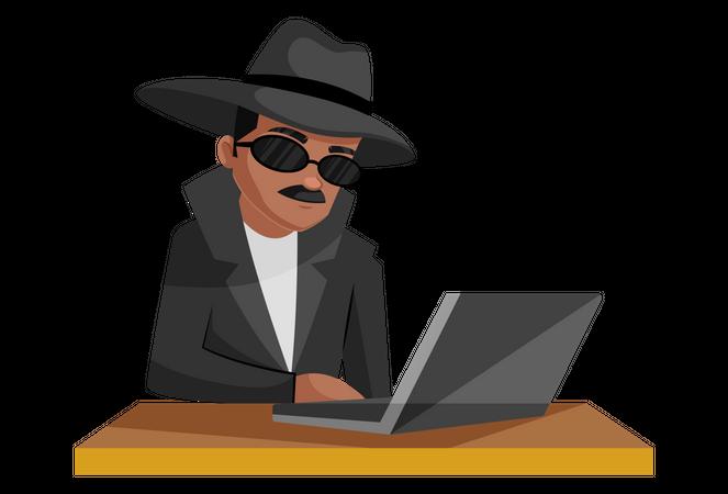 Secret agent working on laptop Illustration