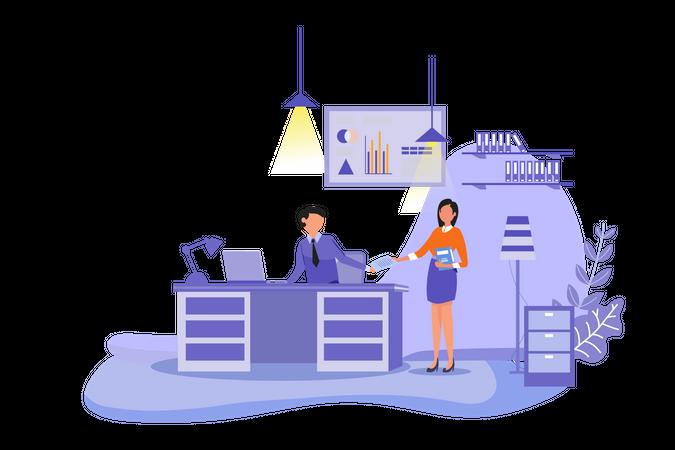 Secretary Office  Business Worker Landing Page Illustration