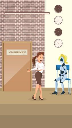 Secretory asking female robot to attend job interview Illustration