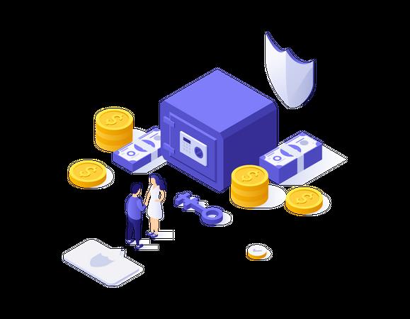 Secure banking Illustration