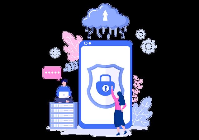 Secure cloud Illustration