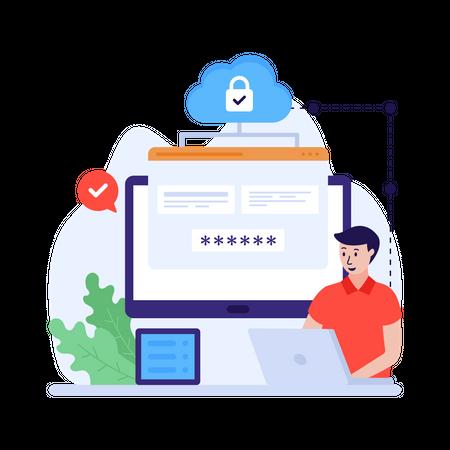Secure cloud storage Illustration