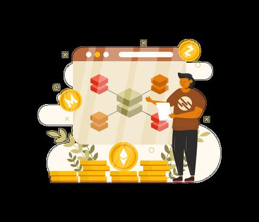 Secure crypto transaction using Blockchain Illustration