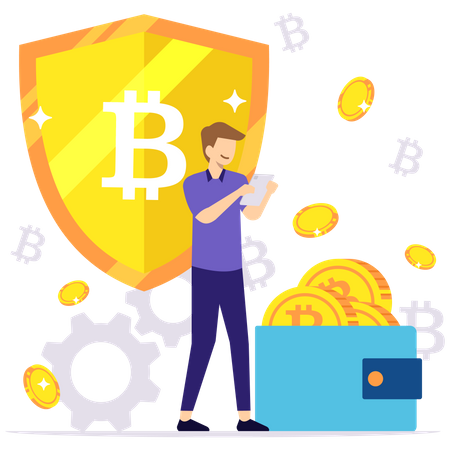 Secure cryptocurrency Illustration