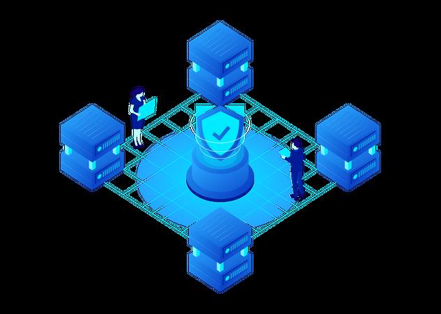 Secure Cryptocurrency Data Storage Illustration