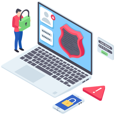 Secure Devices or Password Protection Illustration