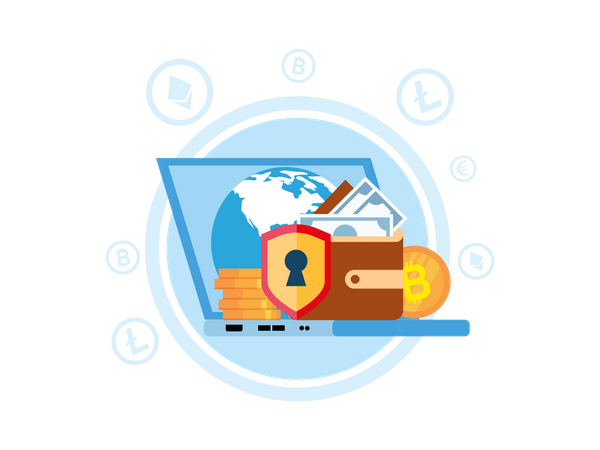 Secure global money transfer Illustration