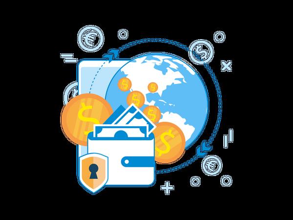 Secure International Money Exchange Illustration