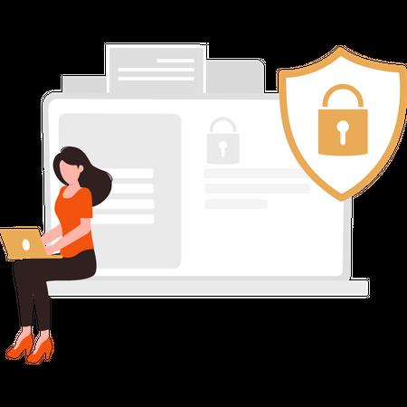 Secure laptop Illustration