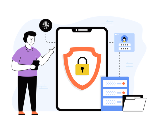 Secure mobile phone Illustration