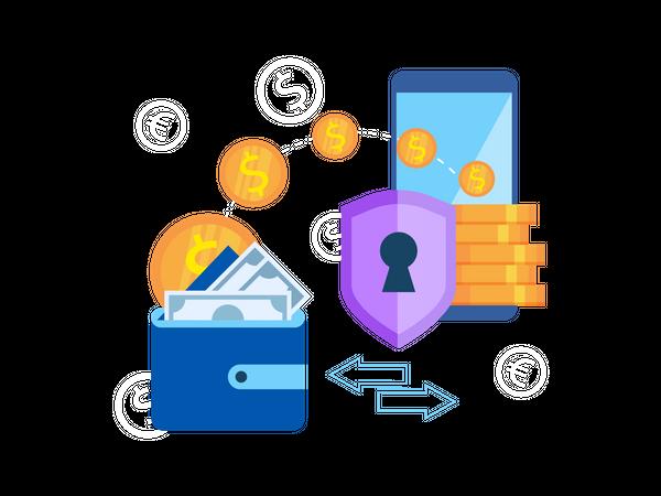 Secure Mobile wallet Illustration