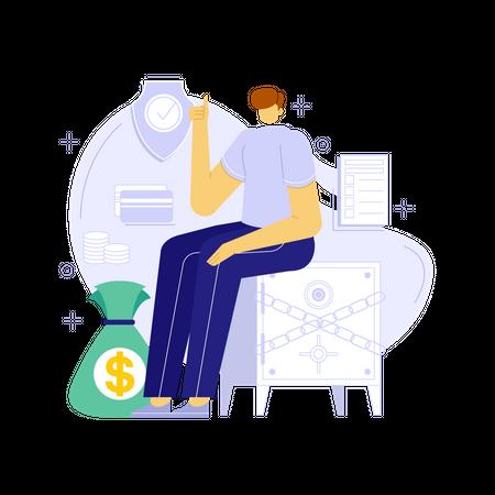 Secure money savings Illustration