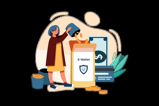 Secure money transfer Illustration