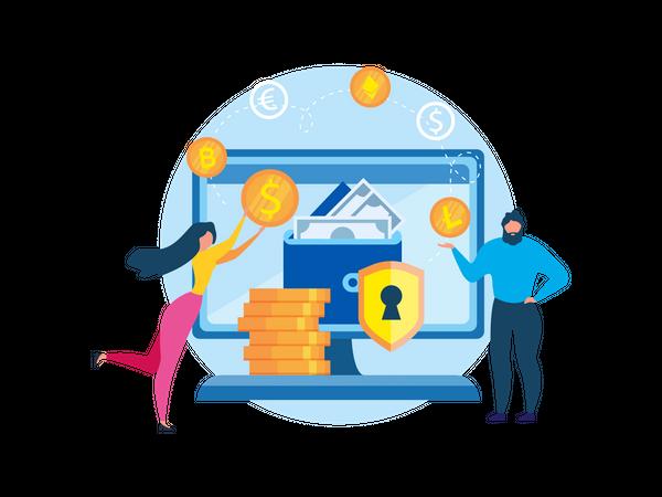 Secure money wallet Illustration