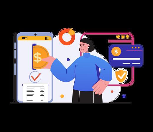 Secure net banking Illustration