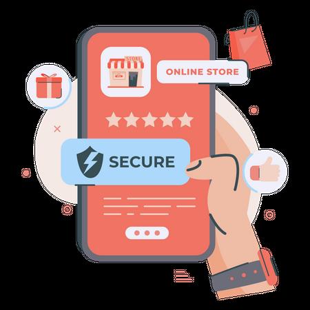 Secure online shopping application Illustration