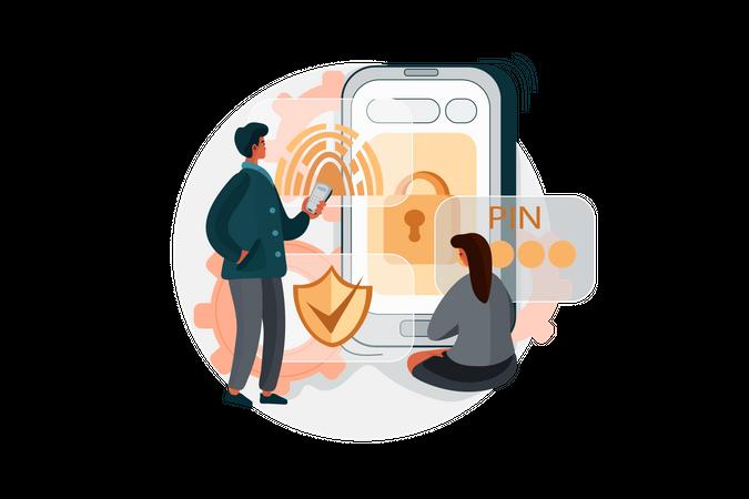 Secure Password for online transaction Illustration