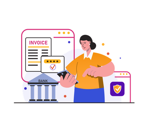 Secure payment by mobile Illustration