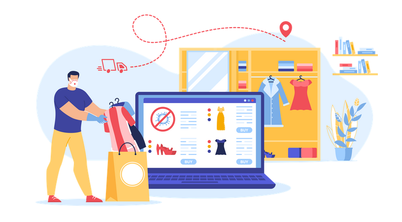 Secure Shopping Online during Covid-19 Pandemic Illustration