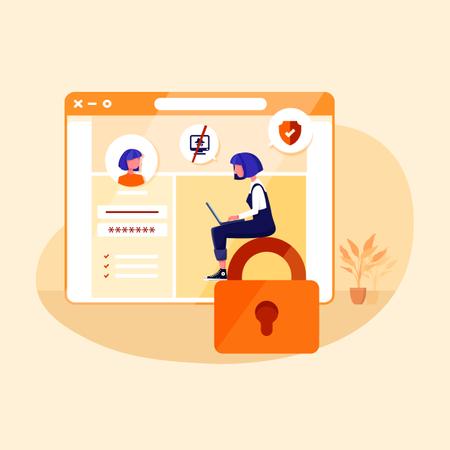 Secure website login Illustration