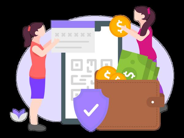Secured Transaction on E-Wallet Illustration