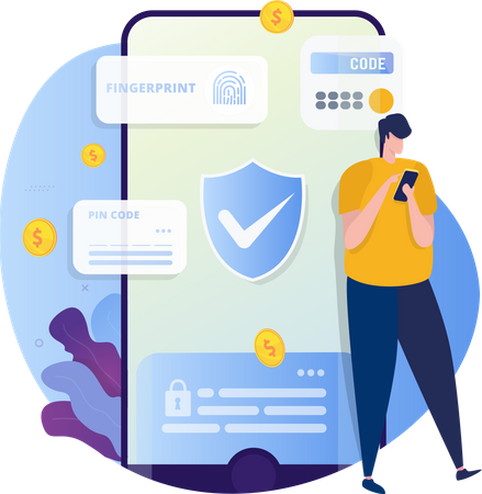 Security App with fingerprint or Access Code Illustration