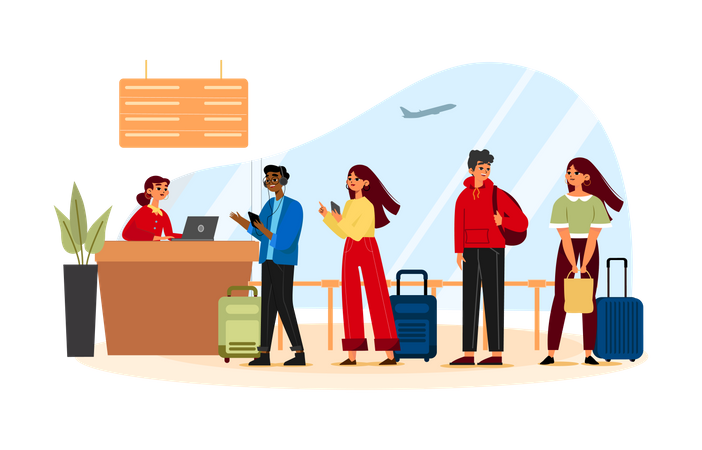 Security Check In Airport Illustration