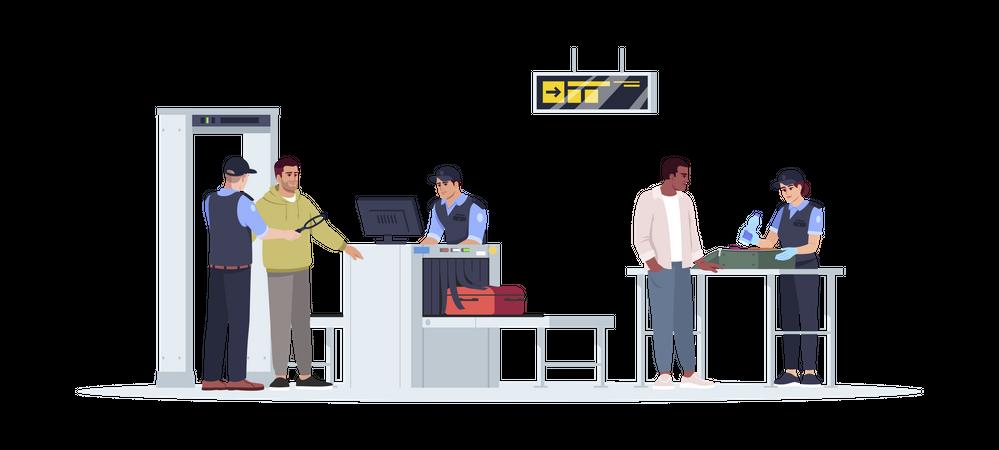 Security checkup of passenger before flight Illustration