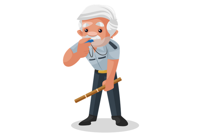 Security guard blowing his whistle Illustration