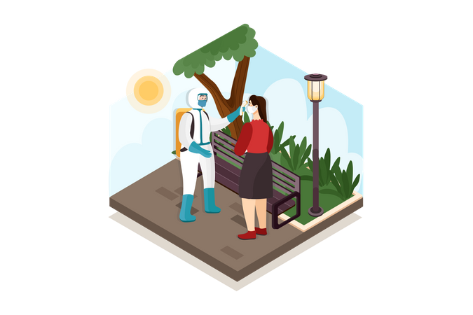Security guard checking temperature at park Illustration