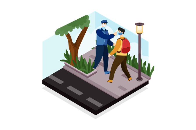 Security Guard Checking temperature of school boy Illustration