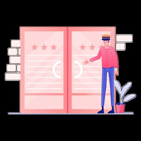 Security Guard Opening Door in three star hotel Illustration