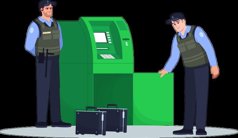 Security guard refilling cash in atm machine Illustration