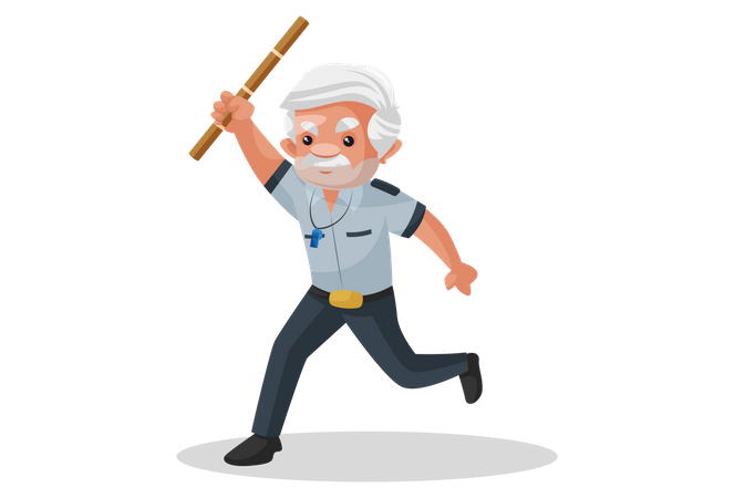 Security guard running and raising wooden stick in air Illustration