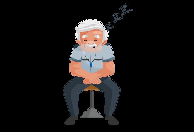 Security guard sleeping Illustration