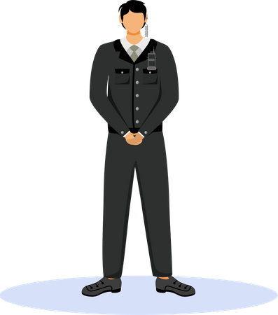 Security guard standing Illustration