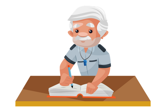 Security man doing entry in visitor book Illustration