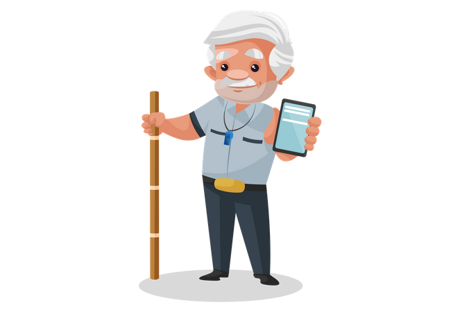 Security man holding mobile and wooden stick Illustration