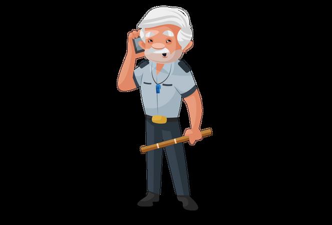 Security officer talking on phone Illustration