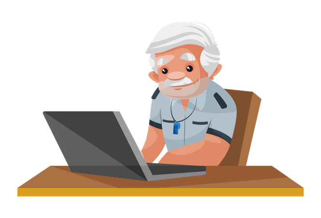 Security person monitoring CCTV cameras on laptop Illustration