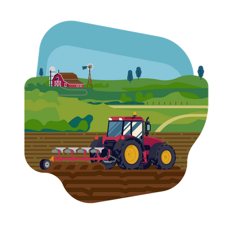 Seed Drills with help of tractor Illustration