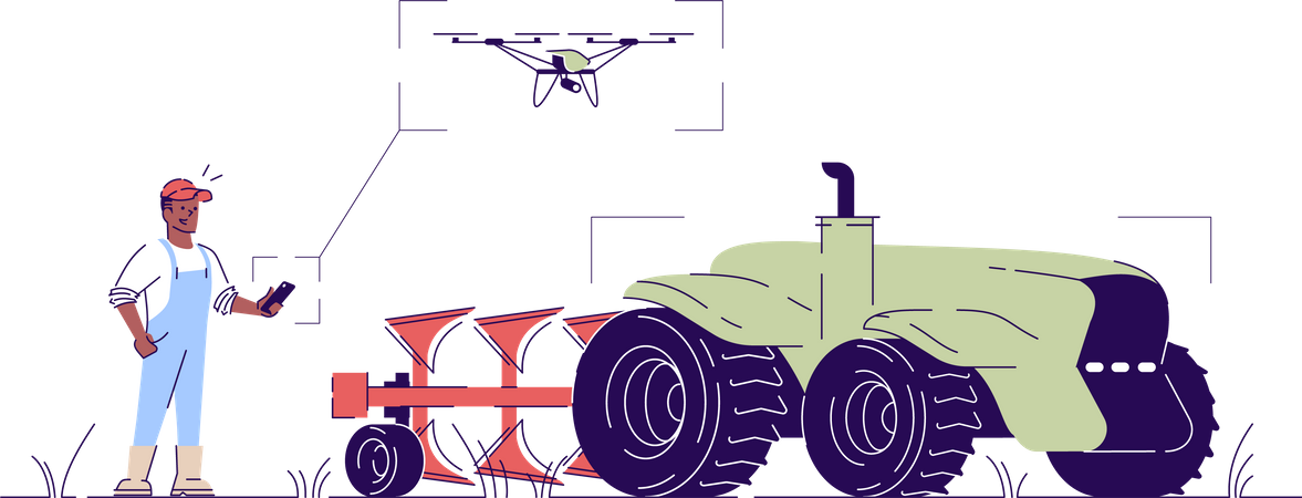 Self driving drone tractor Illustration